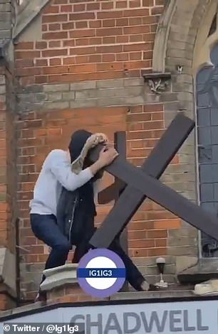 It is not yet known how the man reached the roof of the church and where the cross was recovered from