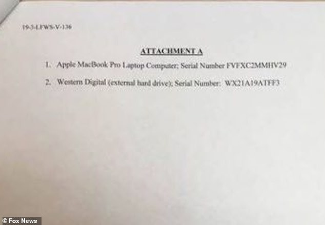 One document appears to show the serial number for a laptop and hard drive that were obtained by the FBI