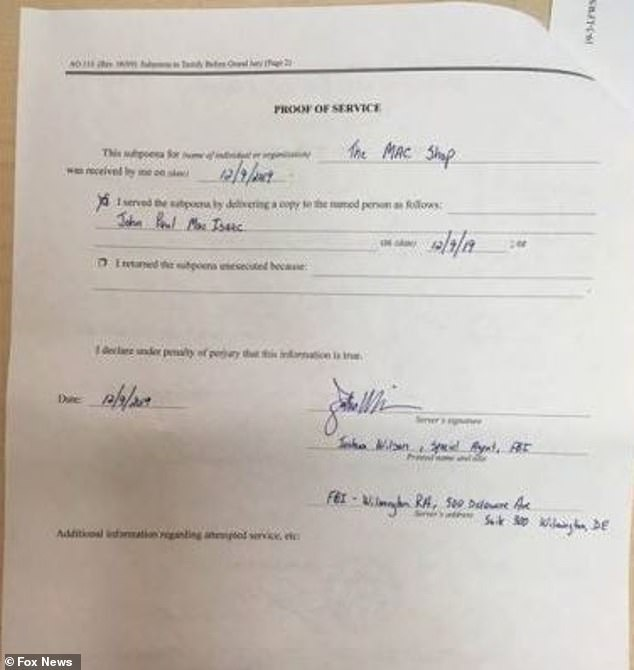 A view of the subpeona issued for The Mac Shop ownerJohn Paul Mac Isaac on December 9, 2019 above