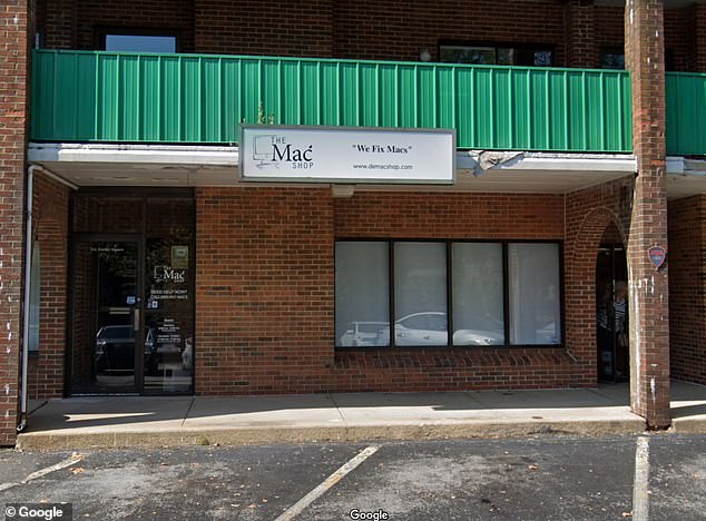 Last week a New York Post report claimed that Hunter Biden¿s laptop was abandoned at The Mac Shop in Wilmington, Delaware (above) for months and was found to contain e-mails that purportedly implicate Joe Biden in his son's international business deals during his time as Vice President. The Biden campaign has denies any wrongdoing