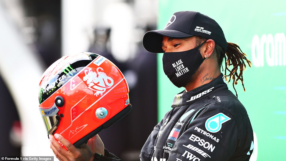 Hamilton Is Left Stunned As Schumacher S Son Presents Him With One Of His Father S Crash Helmets