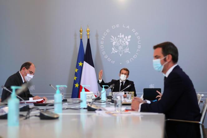 Jean Castex,Emmanuel Macron et Olivier Véran, le 12 novembre 2020 à l'Elysée.