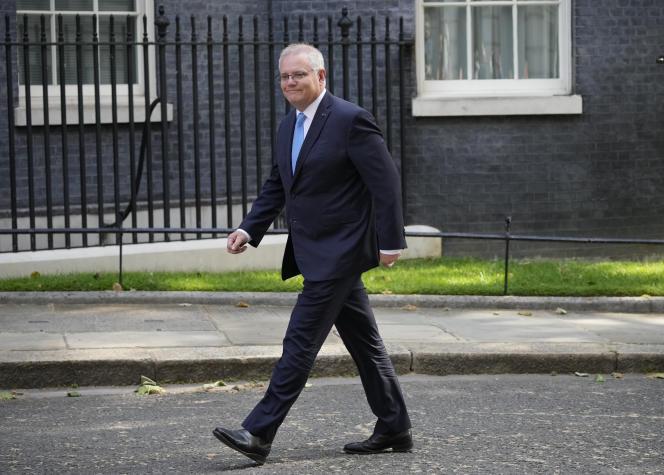 Le premier ministre australien, Scott Morrison, à Londres, le 15juin 2021.
